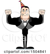 Clipart Of A Mad Buff Caucasian Party Man Royalty Free Vector Illustration
