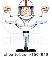 Clipart Of A Mad Buff Caucasian Male Race Car Driver Royalty Free Vector Illustration
