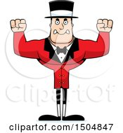 Clipart Of A Mad Buff Caucasian Male Circus Ringmaster Royalty Free Vector Illustration