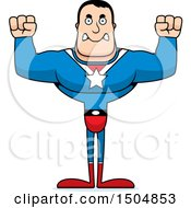 Clipart Of A Mad Buff Caucasian Male Super Hero Royalty Free Vector Illustration