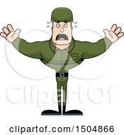 Clipart Of A Scared Buff Caucasian Male Army Soldier Royalty Free Vector Illustration