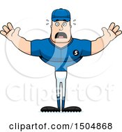 Clipart Of A Scared Buff Caucasian Male Baseball Player Royalty Free Vector Illustration