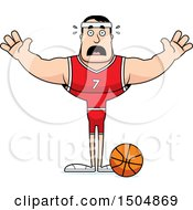 Clipart Of A Scared Buff Caucasian Male Basketball Player Royalty Free Vector Illustration