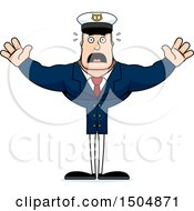 Clipart Of A Scared Buff Caucasian Male Sea Captain Royalty Free Vector Illustration