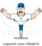 Clipart Of A Scared Buff Caucasian Male Coach Royalty Free Vector Illustration