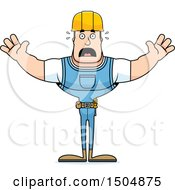 Clipart Of A Scared Buff Caucasian Male Construction Worker Royalty Free Vector Illustration