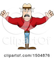 Clipart Of A Scared Buff Caucasian Male Cowboy Royalty Free Vector Illustration