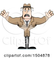 Clipart Of A Scared Buff Caucasian Male Detective Royalty Free Vector Illustration