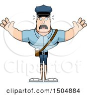 Clipart Of A Scared Buff Caucasian Male Postal Worker Royalty Free Vector Illustration