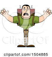 Clipart Of A Scared Buff Caucasian Male Hiker Royalty Free Vector Illustration