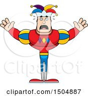 Clipart Of A Scared Buff Caucasian Male Jester Royalty Free Vector Illustration