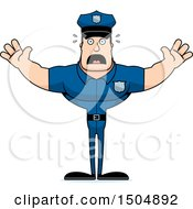 Clipart Of A Scared Buff Caucasian Male Police Officer Royalty Free Vector Illustration