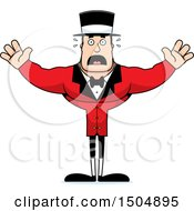 Clipart Of A Scared Buff Caucasian Male Circus Ringmaster Royalty Free Vector Illustration