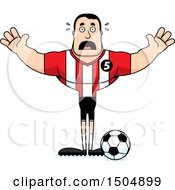 Clipart Of A Scared Buff Caucasian Male Soccer Player Athlete Royalty Free Vector Illustration