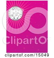 Sparkling Mirror Disco Ball Suspended From The Ceiling And Casting Light Over A Pink Background Clipart Illustration