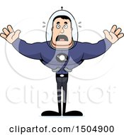 Clipart Of A Scared Buff Caucasian Male Space Guy Royalty Free Vector Illustration