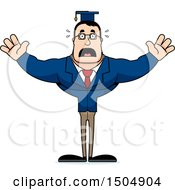 Clipart Of A Scared Buff Caucasian Male Teacher Royalty Free Vector Illustration