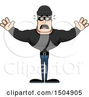 Clipart Of A Scared Buff Caucasian Male Robber Royalty Free Vector Illustration