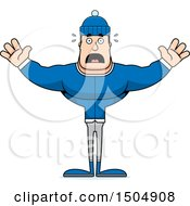 Clipart Of A Scared Buff Caucasian Man In Winter Apparel Royalty Free Vector Illustration