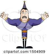 Clipart Of A Scared Buff Caucasian Male Wizard Royalty Free Vector Illustration