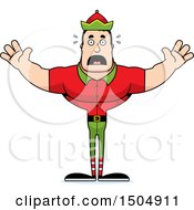 Scared Buff Caucasian Male Christmas Elf