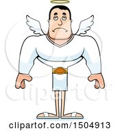 Clipart Of A Sad Buff Caucasian Male Angel Royalty Free Vector Illustration