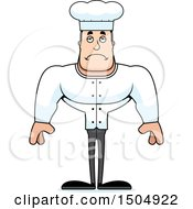 Clipart Of A Sad Buff Caucasian Male Chef Royalty Free Vector Illustration