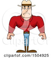 Clipart Of A Sad Buff Caucasian Male Cowboy Royalty Free Vector Illustration