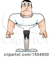 Clipart Of A Sad Buff Caucasian Male Fitness Guy Royalty Free Vector Illustration by Cory Thoman