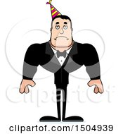 Clipart Of A Sad Buff Caucasian Party Man Royalty Free Vector Illustration