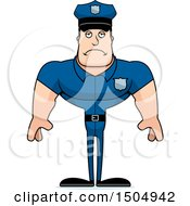 Clipart Of A Sad Buff Caucasian Male Police Officer Royalty Free Vector Illustration