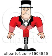 Clipart Of A Sad Buff Caucasian Male Circus Ringmaster Royalty Free Vector Illustration