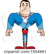 Clipart Of A Sad Buff Caucasian Male Super Hero Royalty Free Vector Illustration