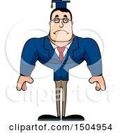 Clipart Of A Sad Buff Caucasian Male Teacher Royalty Free Vector Illustration