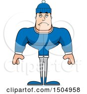 Clipart Of A Sad Buff Caucasian Man In Winter Apparel Royalty Free Vector Illustration