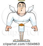 Clipart Of A Surprised Buff Caucasian Male Angel Royalty Free Vector Illustration