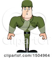 Clipart Of A Surprised Buff Caucasian Male Army Soldier Royalty Free Vector Illustration