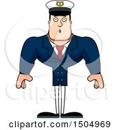 Clipart Of A Surprised Buff Caucasian Male Sea Captain Royalty Free Vector Illustration