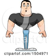 Clipart Of A Surprised Buff Casual Caucasian Man Royalty Free Vector Illustration