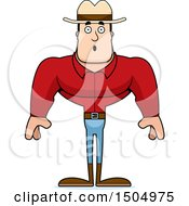 Clipart Of A Surprised Buff Caucasian Male Cowboy Royalty Free Vector Illustration