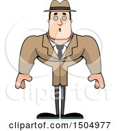 Clipart Of A Surprised Buff Caucasian Male Detective Royalty Free Vector Illustration