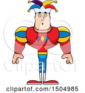 Clipart Of A Surprised Buff Caucasian Male Jester Royalty Free Vector Illustration