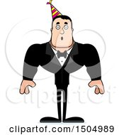 Clipart Of A Surprised Buff Caucasian Party Man Royalty Free Vector Illustration