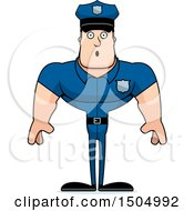 Clipart Of A Surprised Buff Caucasian Male Police Officer Royalty Free Vector Illustration
