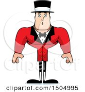 Clipart Of A Surprised Buff Caucasian Male Circus Ringmaster Royalty Free Vector Illustration
