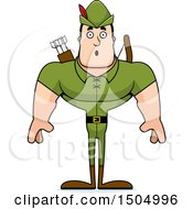 Clipart Of A Shocked Buff Caucasian Male Archer Or Robin Hood Royalty Free Vector Illustration