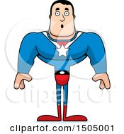 Clipart Of A Surprised Buff Caucasian Male Super Hero Royalty Free Vector Illustration