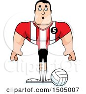 Clipart Of A Surprised Buff Caucasian Male Volleyball Player Royalty Free Vector Illustration