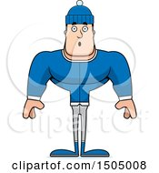 Clipart Of A Surprised Buff Caucasian Man In Winter Apparel Royalty Free Vector Illustration