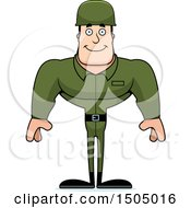 Clipart Of A Happy Buff Caucasian Male Army Soldier Royalty Free Vector Illustration